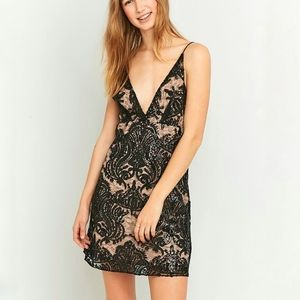 Free People Night Shimmers mini dress black sequin